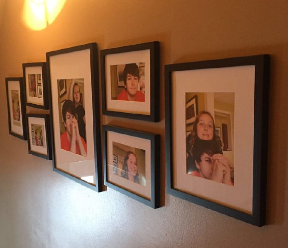 framed photos on wall